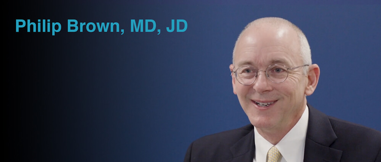 Screenshot of Philip Brown, MD, JD from interview.